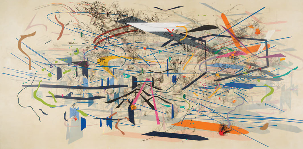 "Julie Mehretu, Retopistics: A Renegade Excavation, 2001, ink and acrylic on canvas, 8' 5 1⁄2"" × 17' 4 1⁄2""."