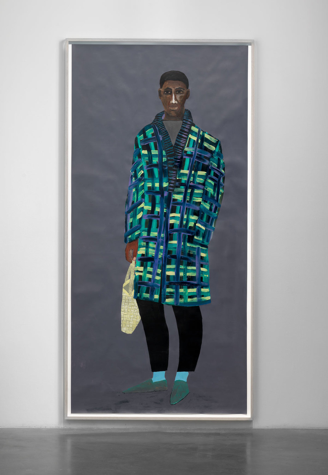 Lubaina Himid, Shopping for a Loaf Tin, 2019, acrylic on paper. Installation view, New Museum, New York. Photo: Dario Lasagni.