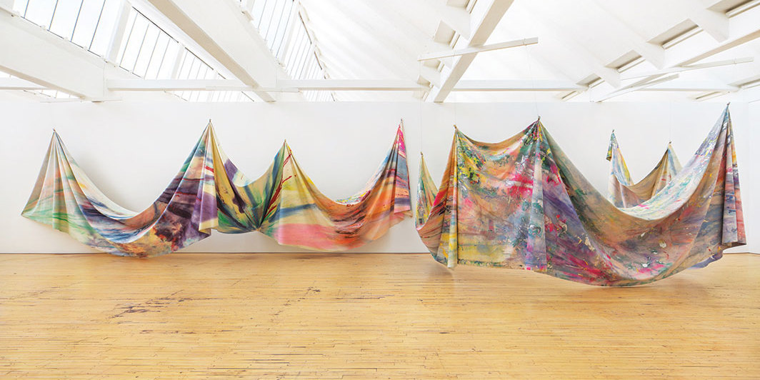 Sam Gilliam, Double Merge, 1968, acrylic on canvas. Installation view, Dia:Beacon, NY, 2019. Photo: Bill Jacobson Studio.