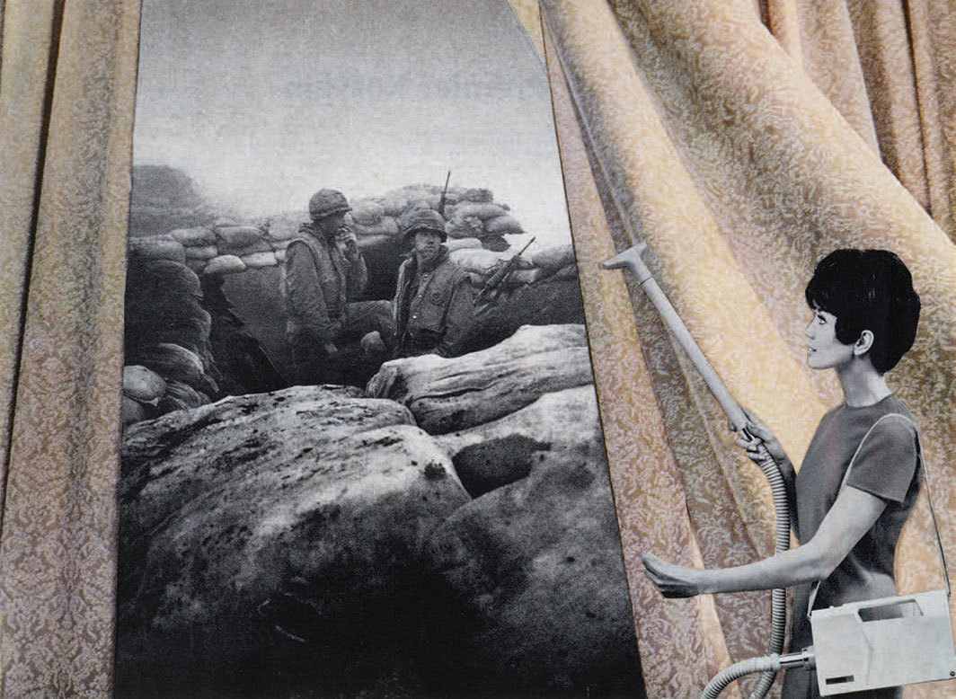 "Martha Rosler, Cleaning the Drapes, ca. 1967–72, photomontage, 17 3⁄8 × 23 3⁄4"". From the series ""House Beautiful: Bringing the War Home,"" ca. 1967–72."