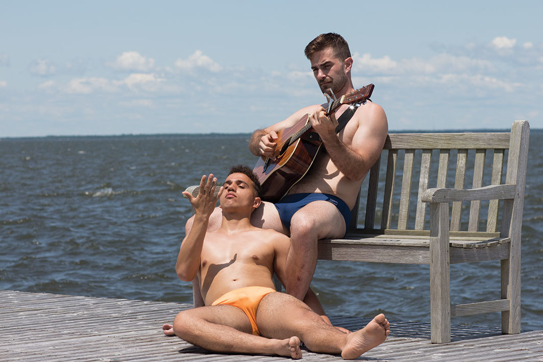 Jeremy O. Harris, Water Sports; or Insignificant White Boys, 2019. Performance view, BOFFO, Fire Island Pines, Brookhaven, NY, June 22, 2019. Alexander Paris and Sal Ad. Photo: An Pham.