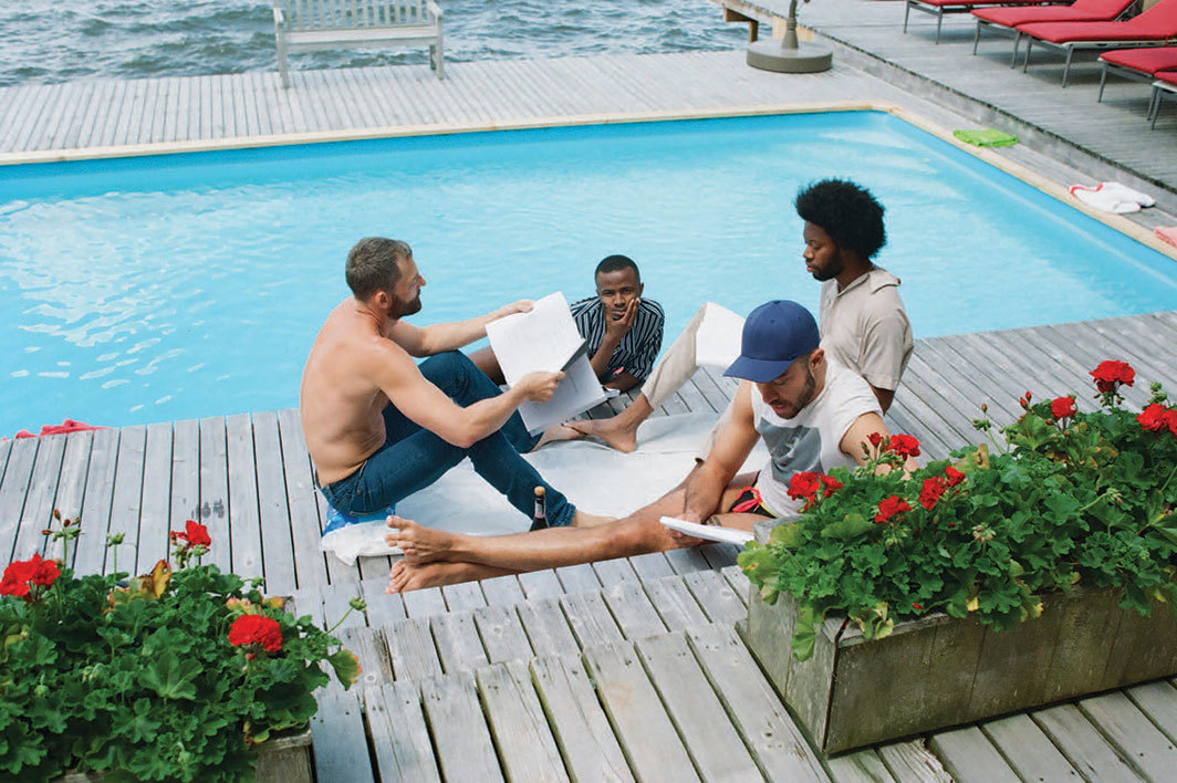 Jeremy O. Harris, Water Sports; or Insignificant White Boys, 2019. Performance view, BOFFO, Fire Island Pines, Brookhaven, NY, June 22, 2019. Ken Barnett, Avon Haughton, Alex Fialho, and Jeremy O. Harris. Photo: Matthew Leifheit.