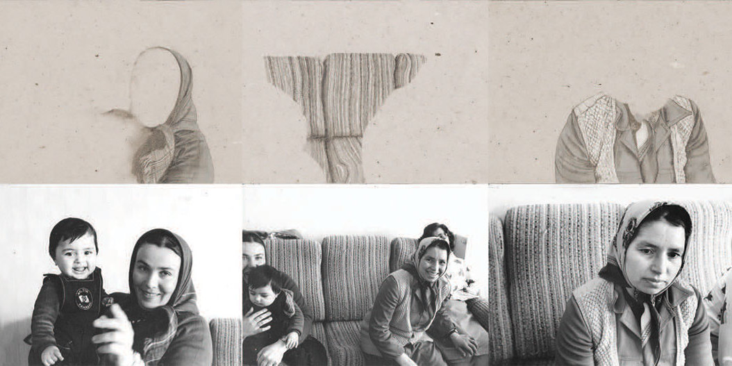 Nil Yalter, Turkish Immigrants (detail), 1977, twelve gelatin silver prints, twelve pencil-on-paper drawings, dimensions variable.