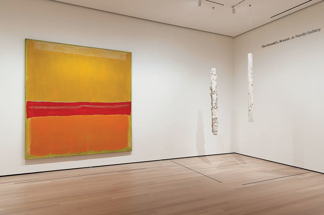 "View of ""Planes of Color,"" 2019, Museum of Modern Art, New York. From left: Mark Rothko, No. 5/No. 22, 1950; Louise Nevelson, Hanging Column (from Dawn's Wedding Feast), 1959. Photo: Robert Gerhardt."
