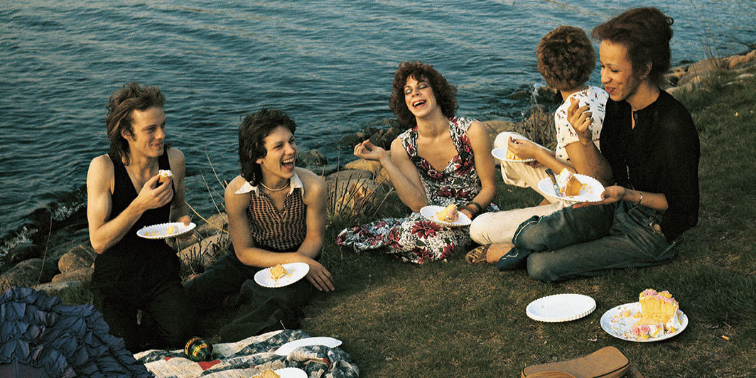 "Nan Goldin, Picnic on the Esplanade, Boston, 1973, Cibachrome, 27 1⁄2 × 40""."