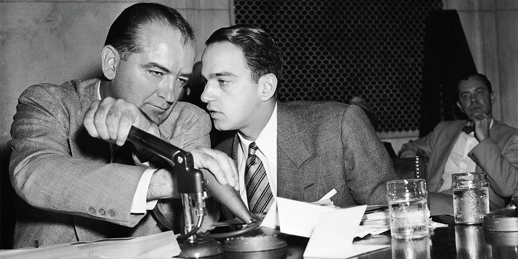 Senator Joseph McCarthy and Roy Cohn during the Army McCarthy hearings, Washington, DC, 1954.