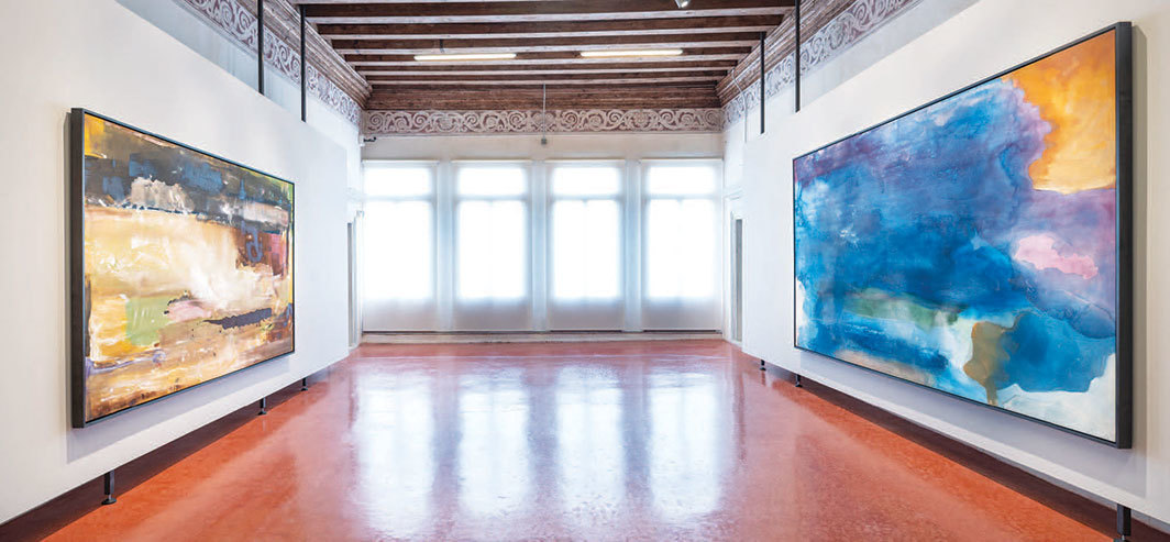 "View of ""Pittura/Panorama: Paintings by Helen Frankenthaler, 1952–1992,"" 2019, Museo di Palazzo Grimani, Venice. Left: For E.M., 1981. Right: Riverhead, 1963. Photo: Matteo De Fina."