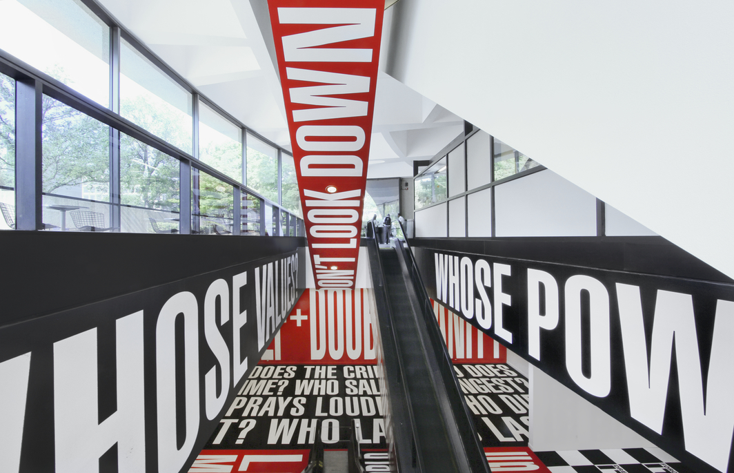 "Installation view of ""Barbara Kruger: Belief + Doubt"" (2012–ongoing) at the Hirshhorn Museum and Sculpture Garden in Washington, DC. Photo: Cathy Carver © Barbara Kruger. Courtesy of Sprüth Magers and David Zwirner."