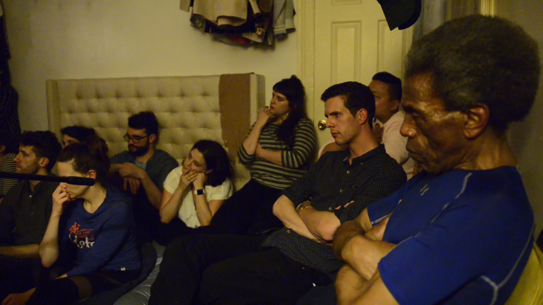 Audience members at Jerome Ellis's apartment.