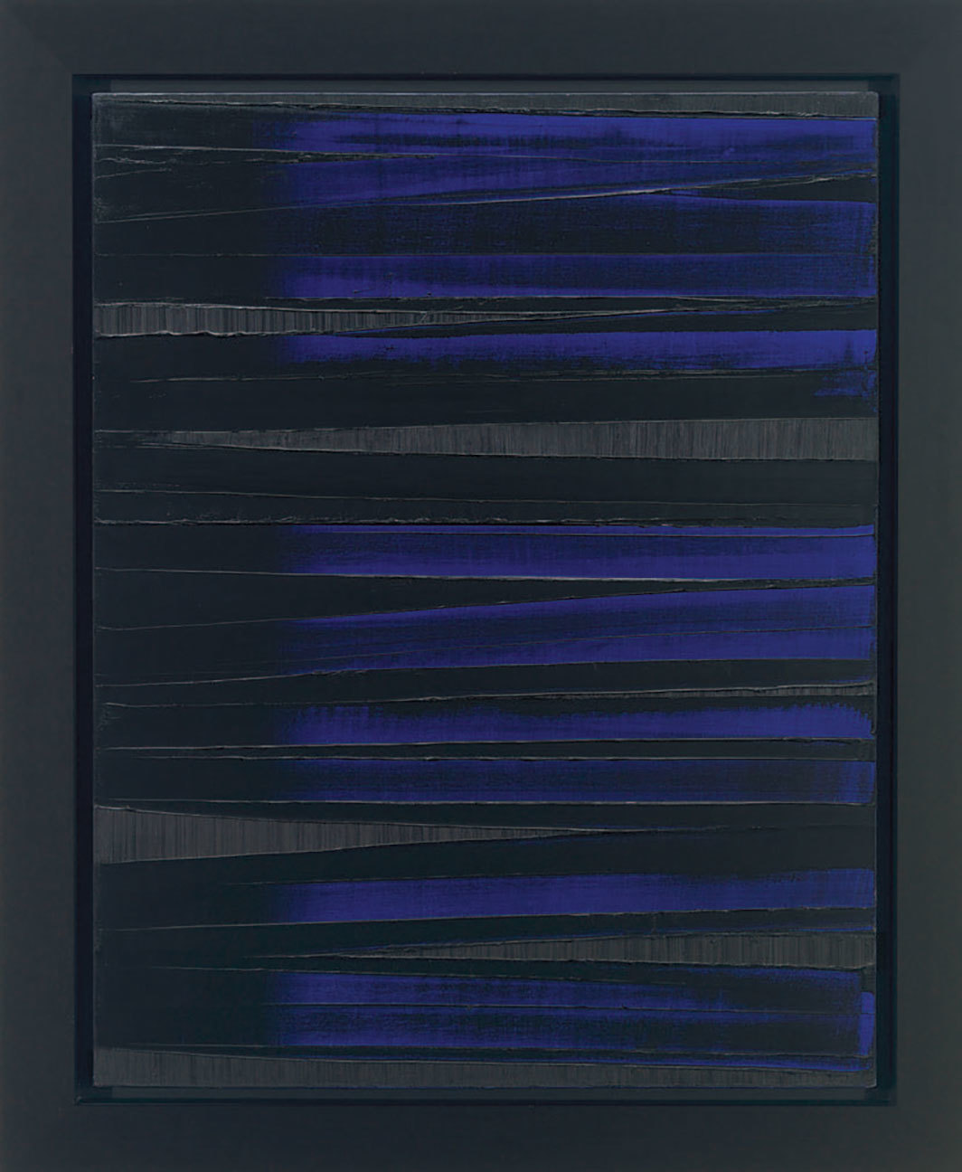 "Pierre Soulages, Peinture 130 x 102 cm, 27 août 1986 (Painting 130 x 102 cm, August 27, 1986), oil on canvas, 51 1⁄8 × 40 1⁄8""."