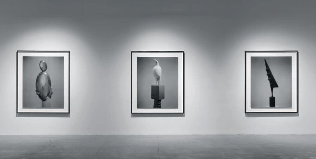 "View of ""Hiroshi Sugimoto,"" 2019. From left: Past Presence 029: Blond Negress, II, Constantin Brancusi, 2014; Past Presence 022: Maiastra, Constantin Brancusi, 2013; Past Presence 021: The Cock, Constantin Brancusi, 2013."