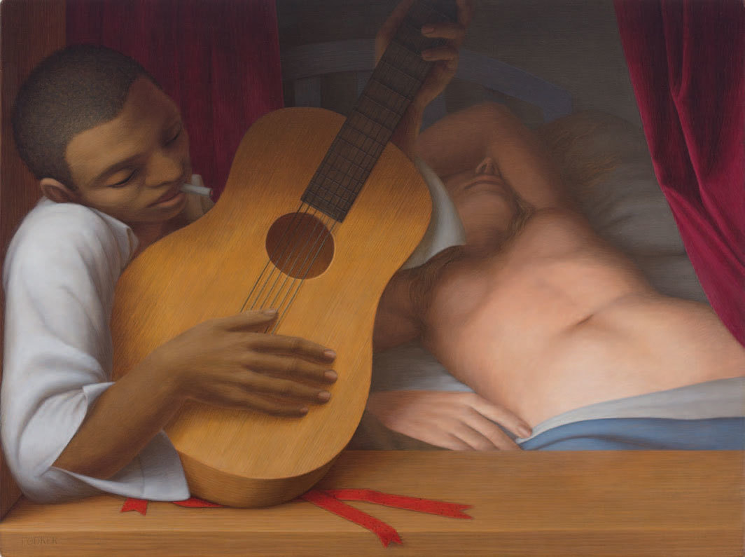 "George Tooker, Guitar, 1957, egg tempera on panel, 18 × 24""."