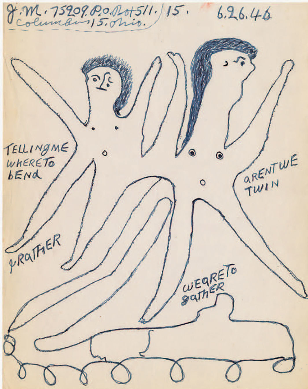 "Joe Massey, Telling me where to bend, 1946, ink on paper, 11 × 8 1⁄2""."