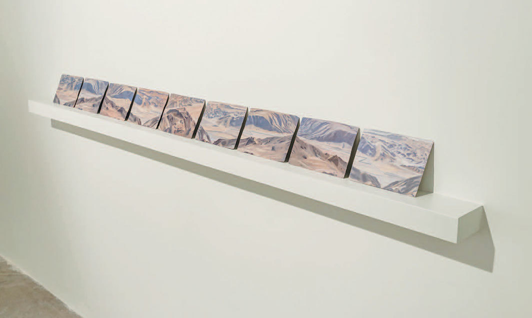 "Hajra Waheed, Landscape 1–9, 2019, oil on tin, each 5 × 7""."