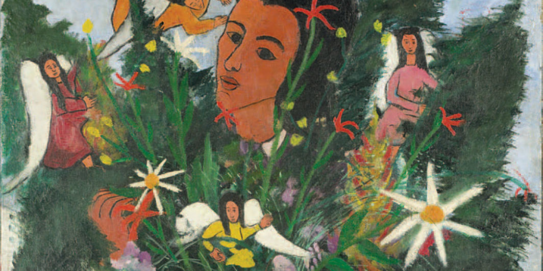 "Djanira da Motta e Silva, Vendedora de flores (Flower Seller), 1947, oil on canvas, 39 5⁄8 × 25 5⁄8""."