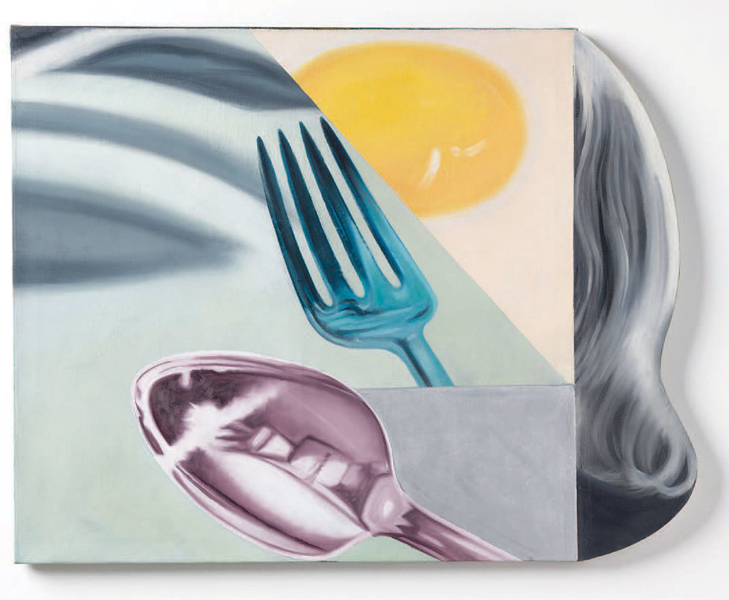 "James Rosenquist, Coenties Slip Studio, 1961, oil on canvas and shaped hardboard, 34 × 43""."