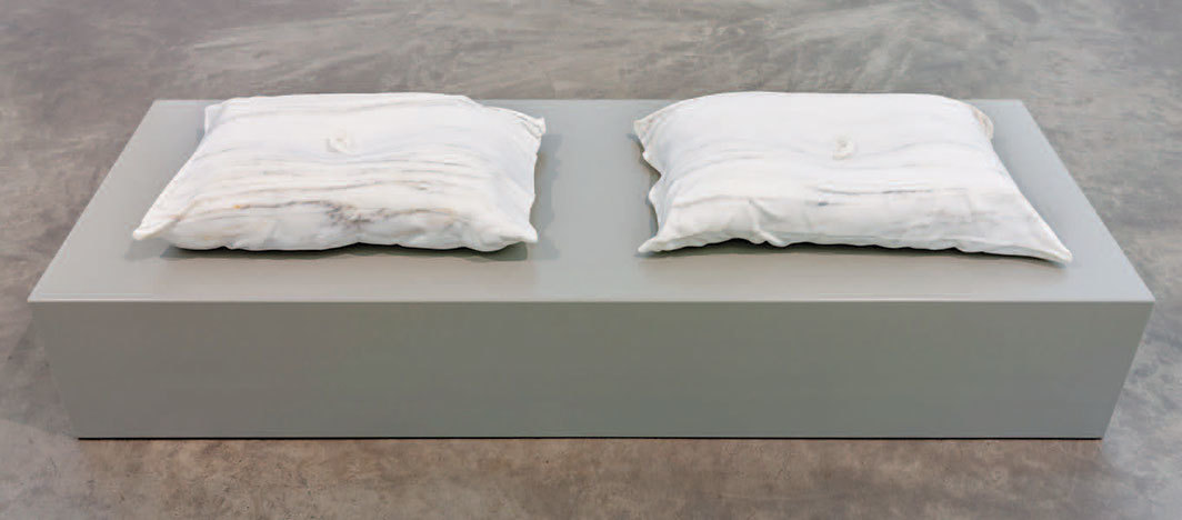 "Dorothy Cross, Listen Listen, 2019, marble; left: 6 1⁄4 × 28 3⁄8 × 17 3⁄4""; right: 6 1⁄4 × 27 1⁄8 × 17 3⁄4""."