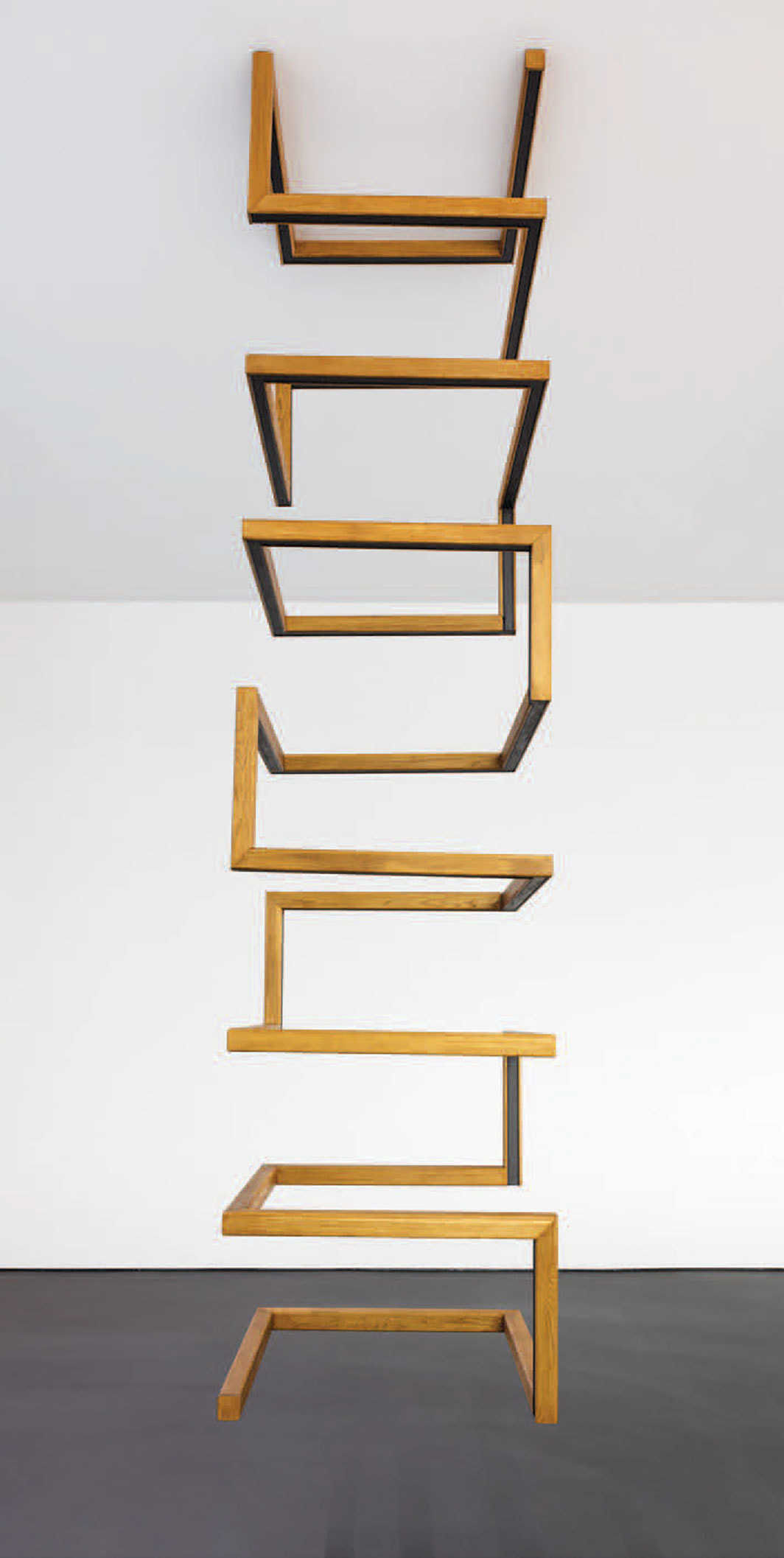 "Roman Ondak, Aeon, 2019, wood, metal, paint, 10' 8"" × 2' 7 1⁄2"" × 2' 7 1⁄2""."