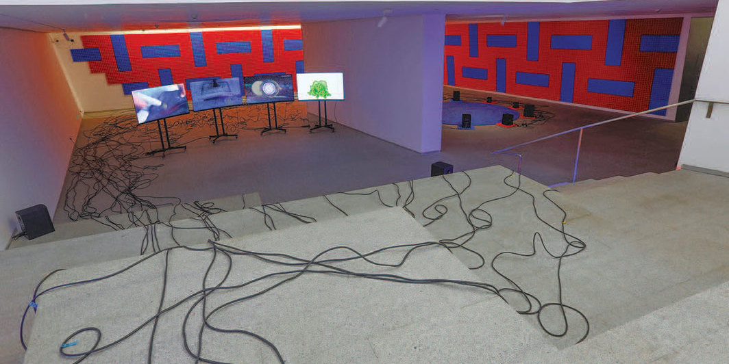 Haroon Mirza, Copy of 9/11–11/9, 2019, mixed media. Installation view.