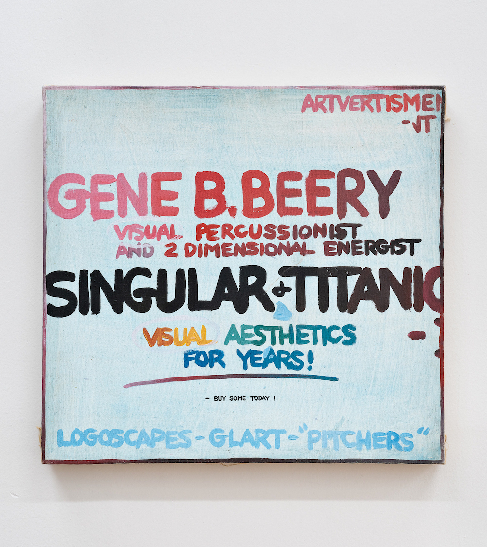 "Gene Beery, Advertisement, 1970s, acrylic on canvas, 20 × 21 1⁄4""."
