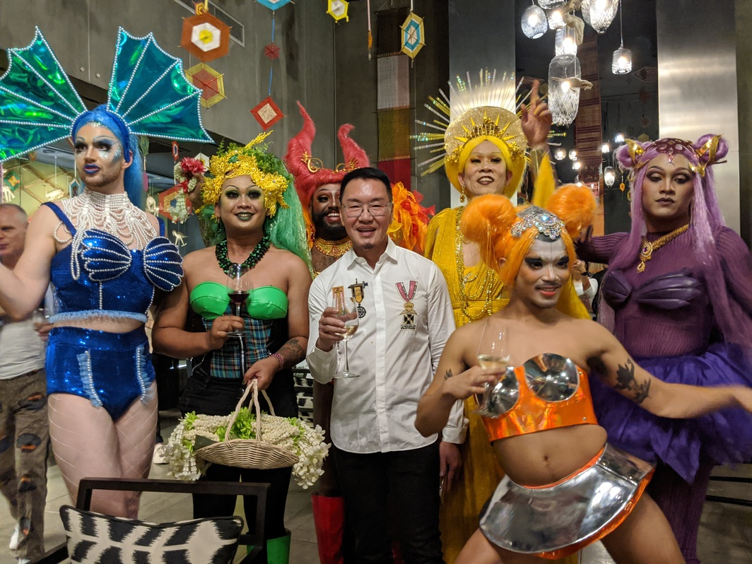 Artists Bradd, Tamarra, Radha, Sunpride founder Patrick Sun, Ming Wong, Josh Serafin, and Amadiva. Photo: John Tain.