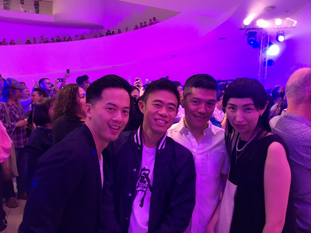Kenneth K Loo, Para Site chairman Alan Lau, Asia Art Archive's John Tain and curator X Zhu-Nowell (X).