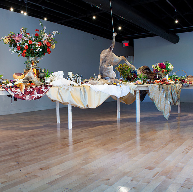 "Installation view of ""Emily Jan: After the Hunt"" (2017) at Hamilton Artists Inc. Courtesy of the National Gallery of Canada."