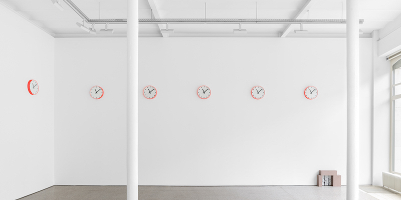 "View of ""Sophie Nys,"" 2019–20, Galerie Greta Meert, Brussels. From left: Two revolutions a day, 2019; Kellerloch (Roter Mainsandstein) (Kellerloch [Red Main Sandstone]), 2019."