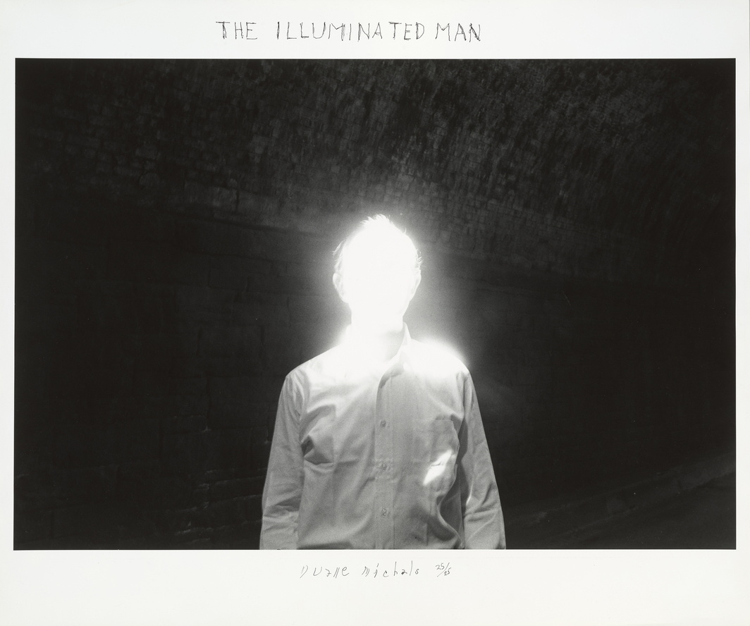 "Duane Michals, The Illuminated Man, 1968, gelatin silver print, 20 x 24""."