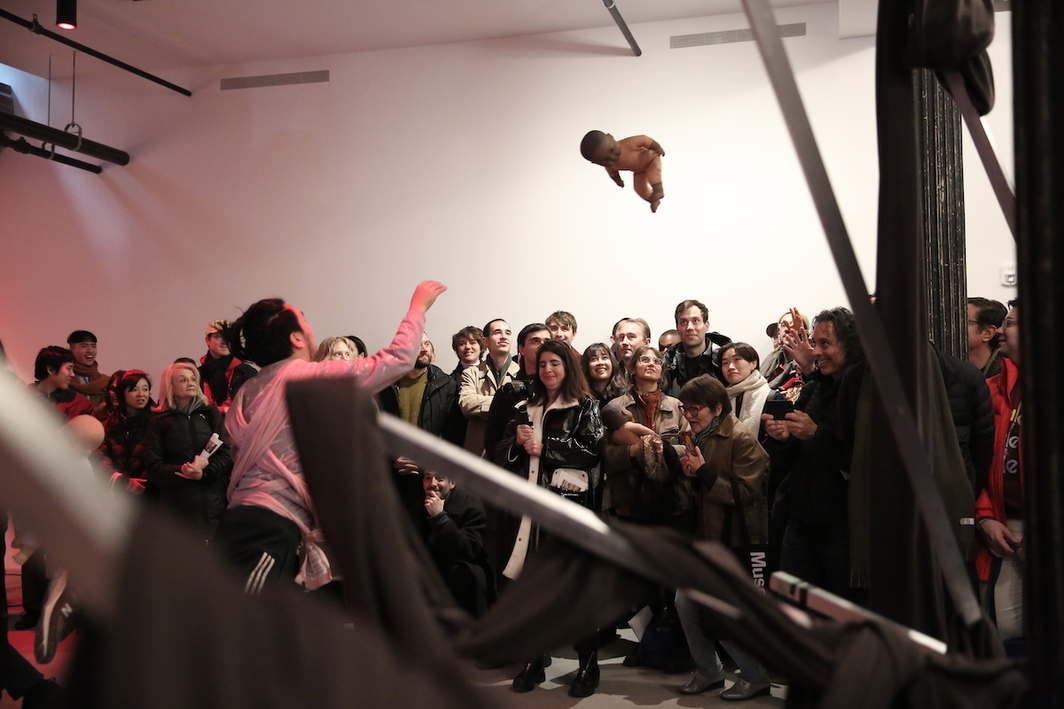 Ei Arakawa, WEWORK BABIES (11 Courtlandt Alley), 2019. Performance view, Artists Space, New York, December 8, 2019. Photo © 2019 Paula Court.