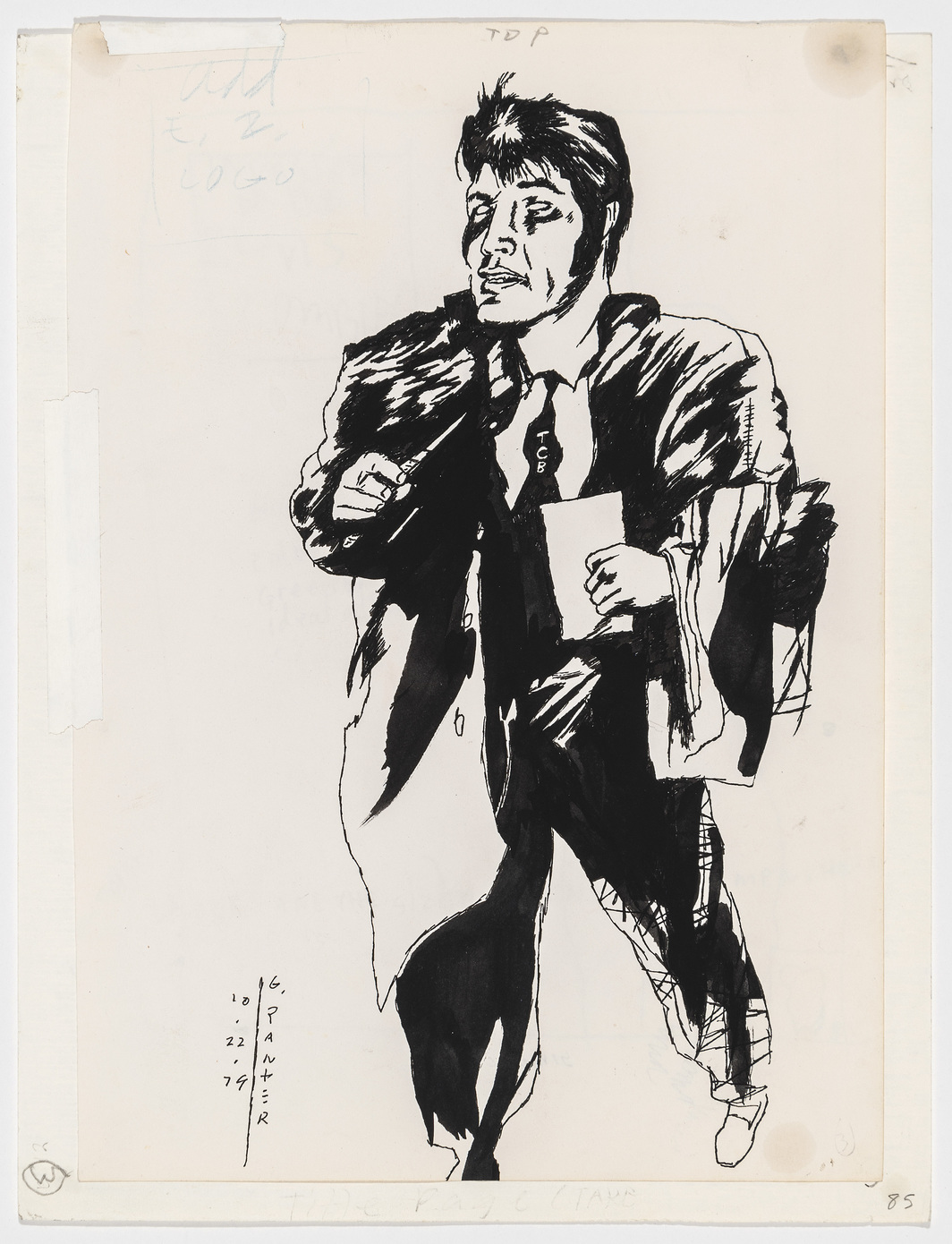 "Gary Panter, Elvis Zombie, 1979, ink on paper, 11 x 8 1/2""."