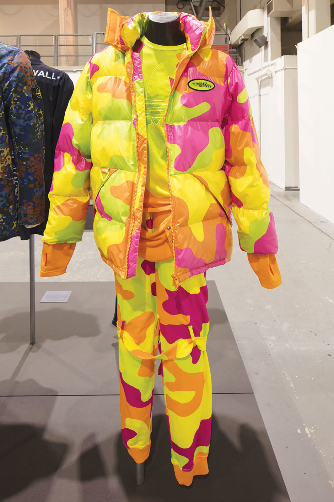 Look from Adidas Originals × Jeremy Scott Fall/Winter 2013 collection. Installation view, University of Westminster, London, 2019.