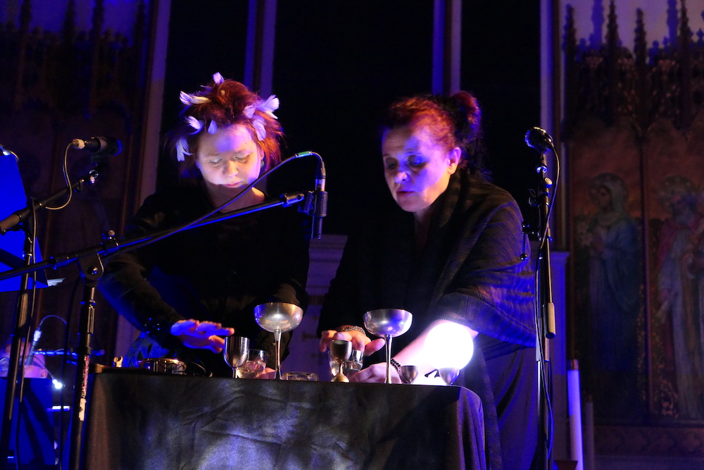 Katarzyna Smoluk and Agata Harz of Księżyc. Performance view, St. Peter's Episcopal Church, New York, 2019. Photo: Samy Yvonne.