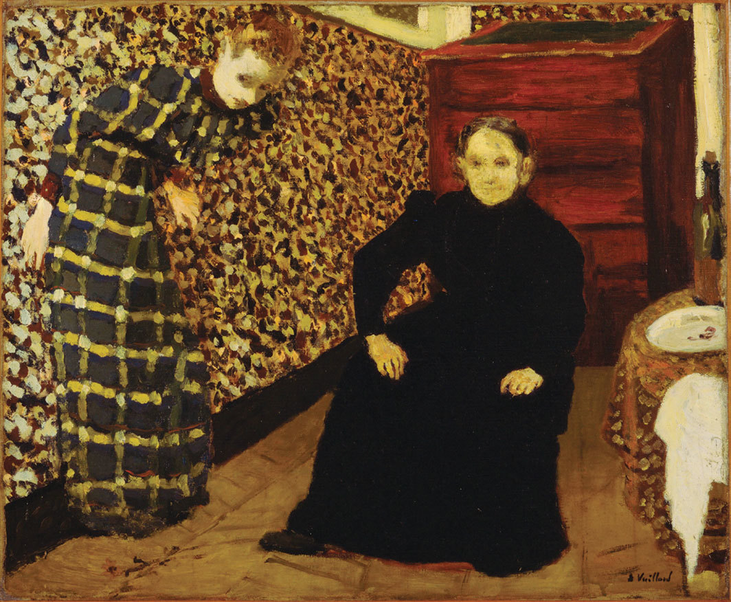 "Édouard Vuillard, Interior, Mother and Sister of the Artist, 1893, oil on canvas, 18 1⁄4 × 22 1⁄4""."