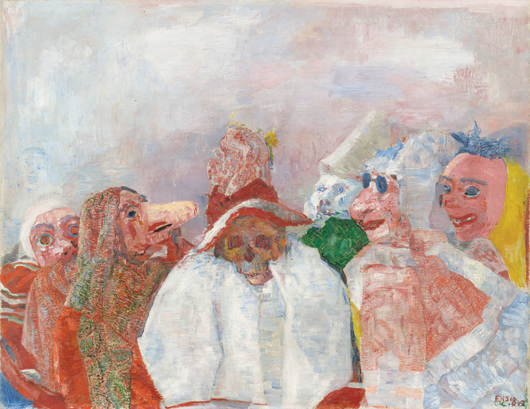 "James Ensor, Masks Confronting Death, 1888, oil on canvas, 32 × 39 1⁄2""."