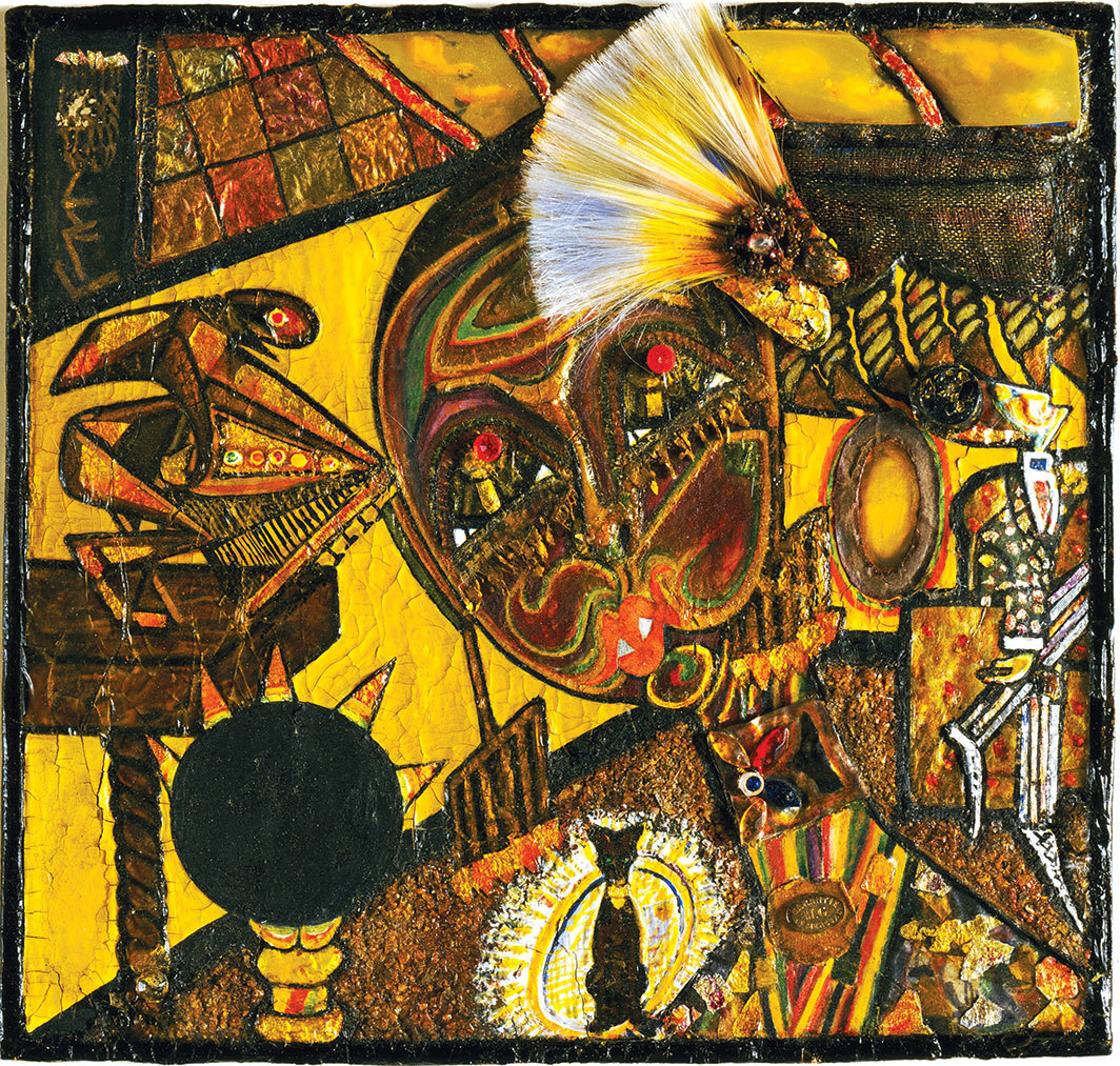 "Elsa von Freytag-Loringhoven, Dada Portrait of Berenice Abbott, ca. 1923–26, gouache, metallic paint, tinted lacquer with varnish, metal foil, celluloid, fiberglass, glass beads, metal objects, cut-and-pasted painted paper, gesso, and cloth on paperboard, 8 5⁄8 × 9 1⁄4""."