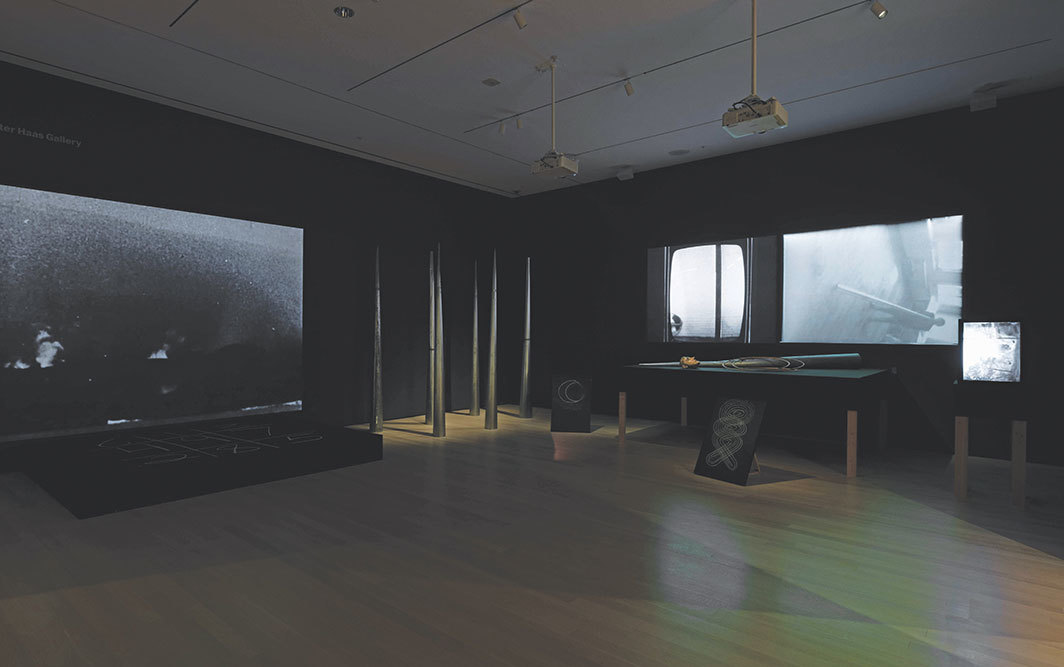 Joan Jonas, Mirage, 1976/1994/2005, props, stages, photographs, six videos (black-and-white, sound and silent, durations variable). Installation view, Museum of Modern Art, New York, 2019. Photo: Robert Gerhardt.