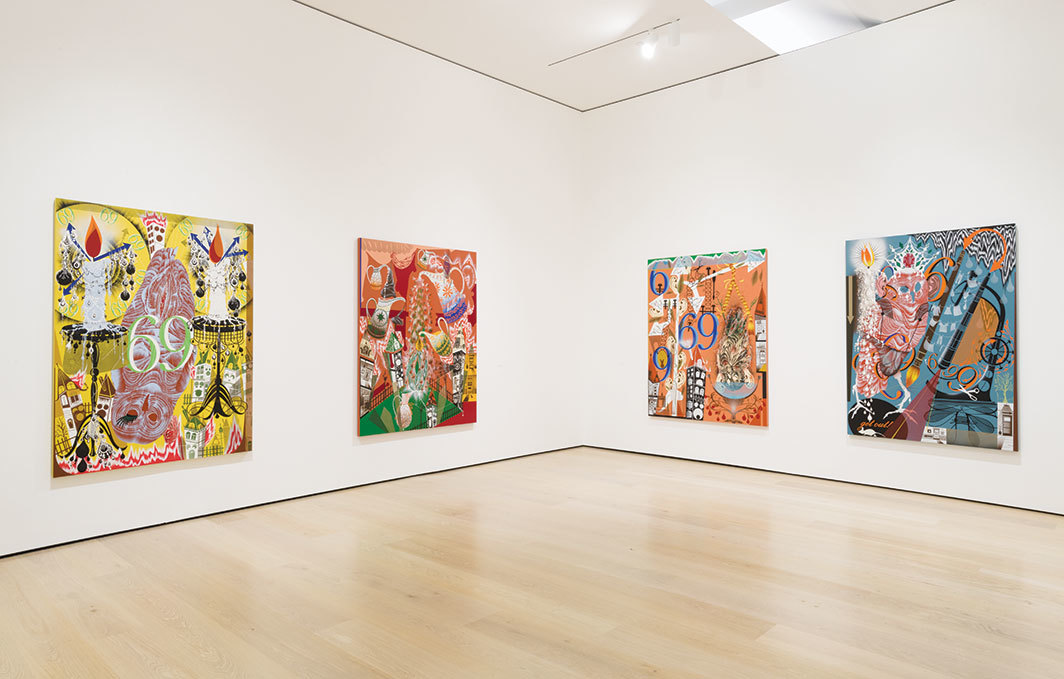 "View of ""Lari Pittman: Declaration of Independence,"" 2019–20, Hammer Museum, Los Angeles. From left: Transfigurative and Needy, 1991; Ennobled and Needy, 1992; Ameliorative and Needy, 1991; Transubstantial and Needy, 1991. All from the series ""Needy,"" 1991–92. Photo: Jeff McLane."