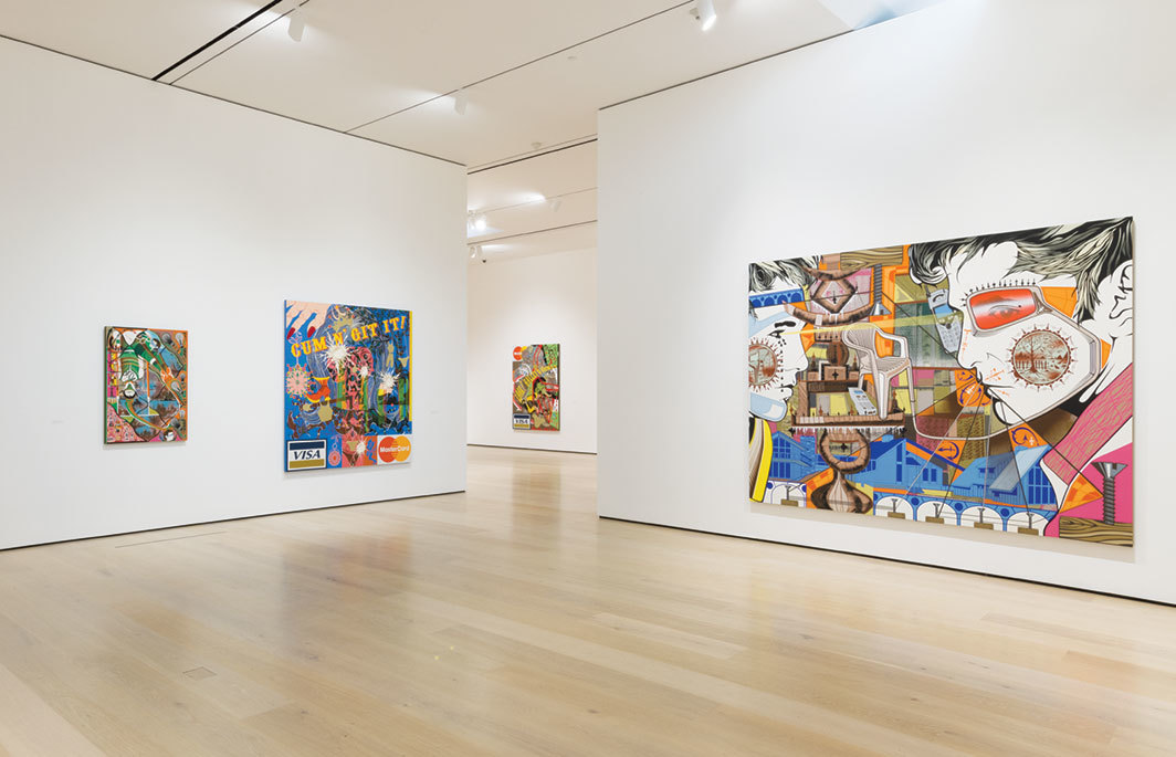 "View of ""Lari Pittman: Declaration of Independence,"" 2019–20, Hammer Museum, Los Angeles. From left: Once a Noun, Now a Verb #5, 1998; Untitled #15 (A Decorated Chronology of Insistence and Resignation), 1993; Untitled #32 (A Decorated Chronology of Insistence and Resignation); 1994; Untitled #1, 2000. Photo: Jeff McLane."