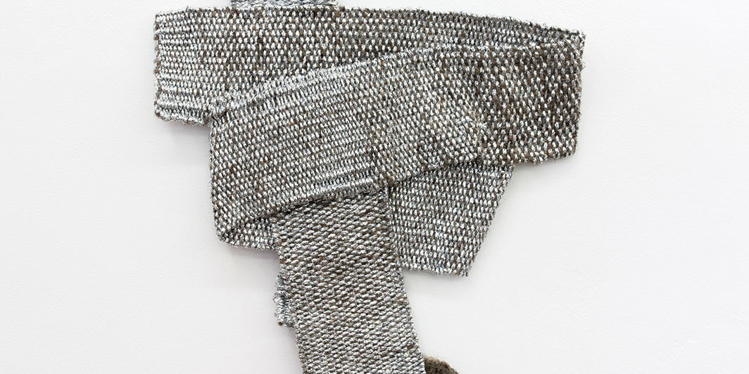 "Hana Miletić, Materials, 2019, handwoven raw wool and metal yarn, 9 × 7 1⁄2"". From the series ""Materials,"" 2015–."