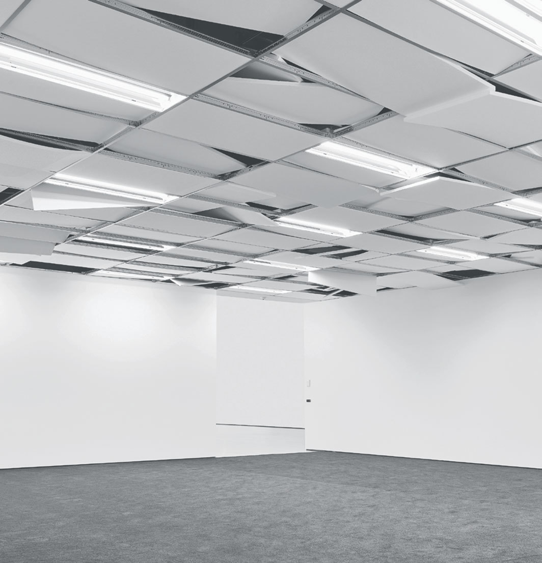 Cinthia Marcelle, Não existe mais lugar neste lugar (There Is No More Place in This Place), 2019, dropped ceiling, fluorescent bulbs, carpet. Installation view. Photo: Ian Reeves.
