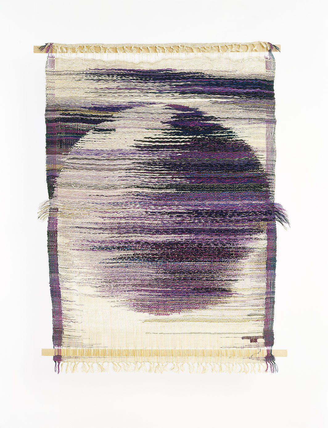 "Lenore Tawney, Jupiter, 1959, silk, wool, wood, 53 × 41""."