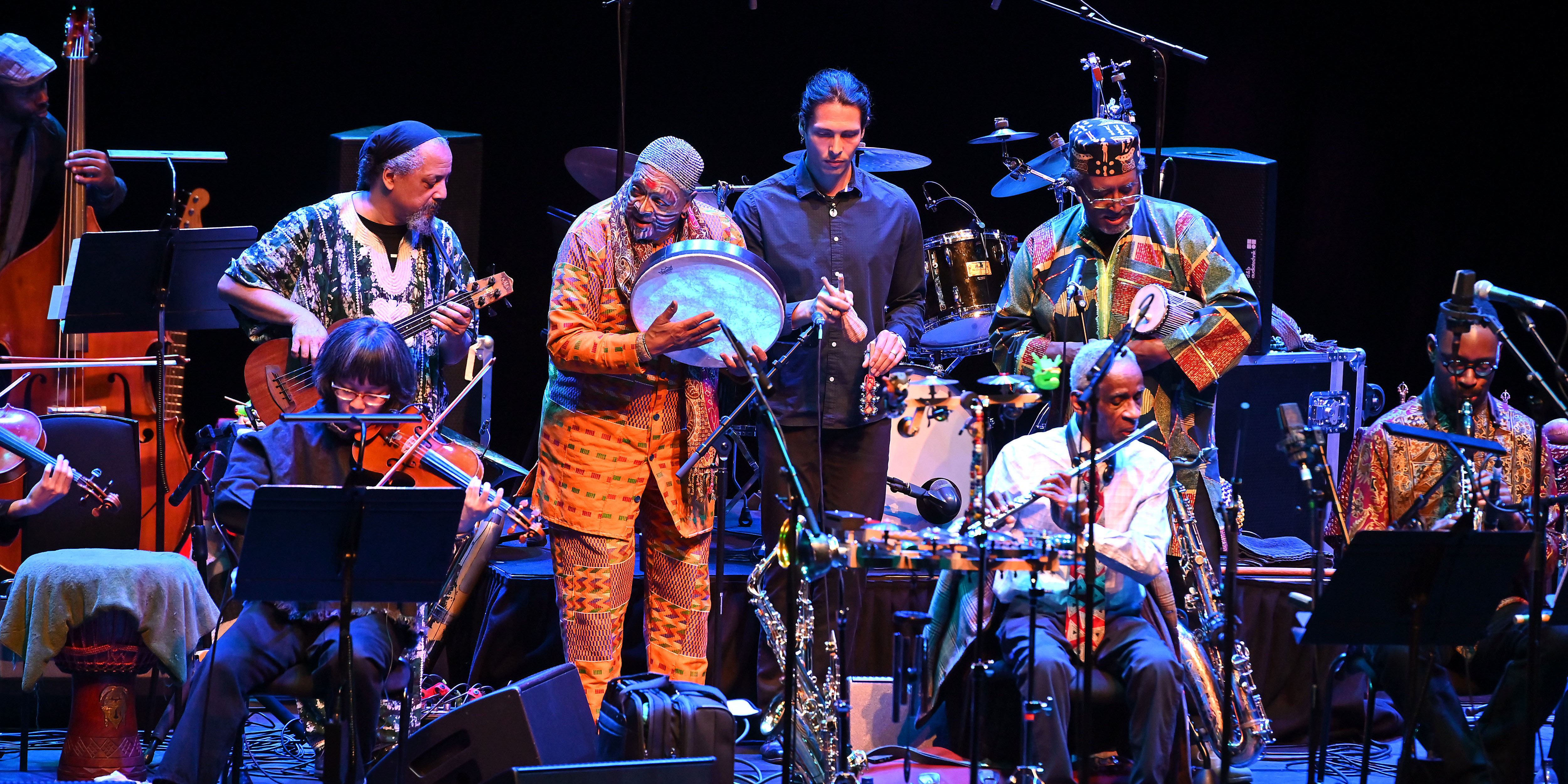 """FROM ITS FOUNDATION IN 1969, the Art Ensemble of Chicago was always more than """"jazz,"""" more than a quintet, and more than the sum of its parts. Like the slogan of the Association for the Advancement of Creative Musicians (AACM) from which it emerged, the group has been """"a power stronger than itself."""" Its flexible approaches to ensemble-building and to ways of thinking collectively have taken its musicians from early days, scraping it together in post–May '68 Paris, to sold-out gigs in concert halls around the world. While predecessors such as Eric Dolphy and John Coltrane had played on an array"""