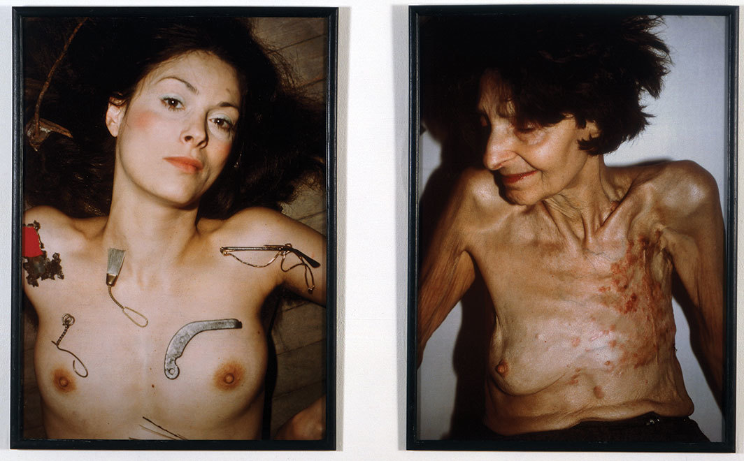 "Hannah Wilke, So Help Me Hannah Series: Portrait of the Artist with Her Mother, Selma Butter, 1978–81, two Cibachrome prints, each 42 × 31 3⁄4""."