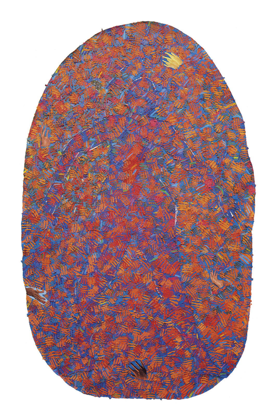 "Howardena Pindell, Autobiography: Fire (Suttee), 1986–87, mixed media on canvas, 90 × 56""."