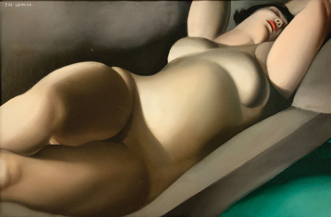 "Tamara de Lempicka, La belle Rafaela en vert (The Beautiful Rafaela in Green), ca. 1927, oil on canvas, 15 × 24""."