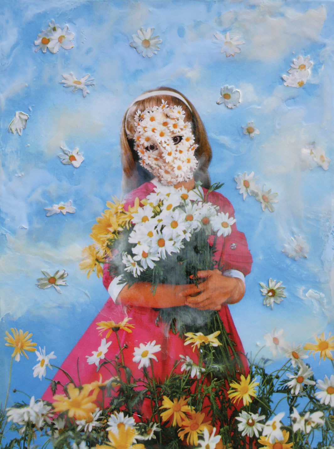 "Marnie Weber, Gathering Daisies on a Misty Day, 2019, mixed media, 12 1⁄2 × 91⁄2""."