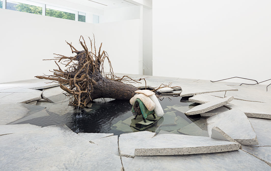 Tatiana Trouvé, The Shaman, 2018, patinated bronze, marble, granite, concrete, steel, sand, water. Installation view.