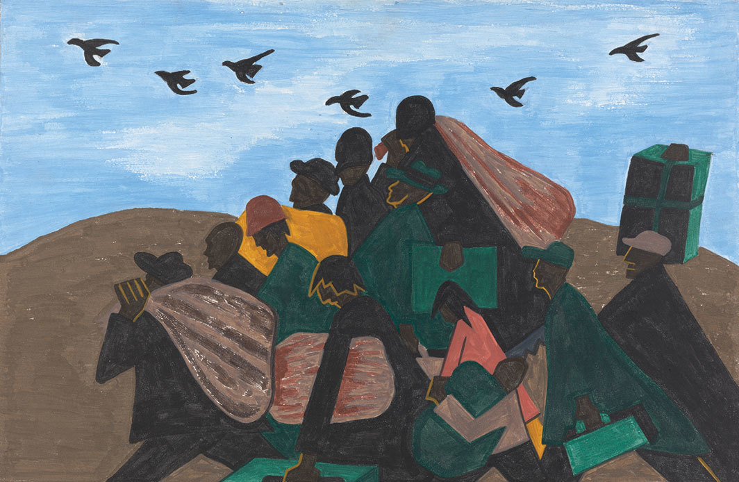 "Jacob Lawrence, From every Southern town migrants left by the hundreds to travel north, 1940–41, casein tempera on hardboard, 12 × 18"". From ""Vida Americana: Mexican Muralists Remake American Art, 1925–1945."" © The Jacob and Gwendolyn Knight Lawrence Foundation, Seattle/Artists Rights Society (ARS), New York."