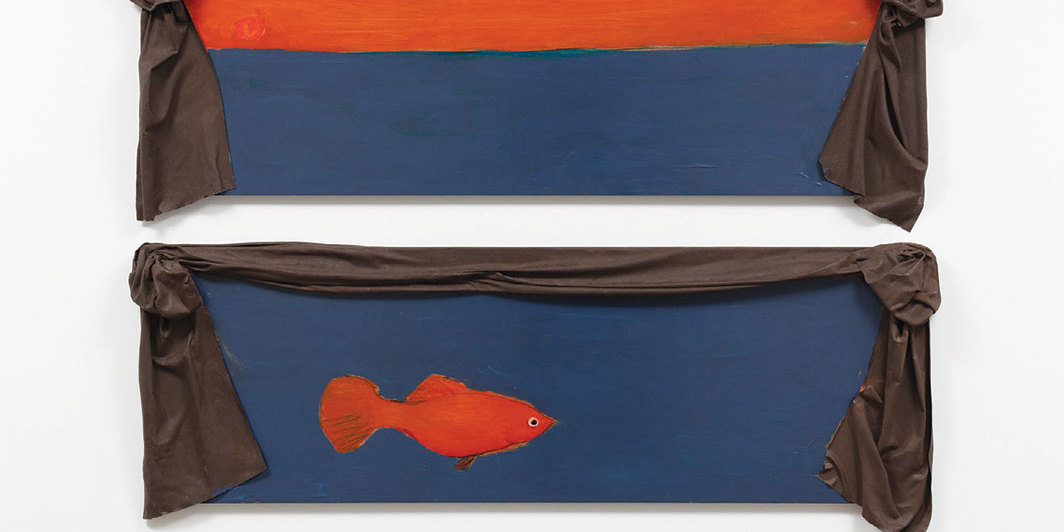 "Ree Morton, Regional Piece, 1976, oil on wood, enamel on celastic, two parts, each 20 × 40"". From ""Invisible City: Philadelphia and the Vernacular Avant-garde."""